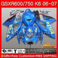 Corpo per Suzuki GSX R750 GSX R600 GSXR 600 750 GSXR750 06-07 8HC.101 GSXR-750 GSX-R600 K6 GSXR600 06 07 2006 2007 Kit carenatura a caldo Rizla Blue