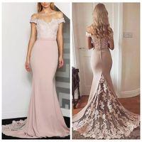 2019 Off Ramię Slim Mermaid Druhna Sukienki Koronkowe Aplikacje Plus Size Formalna Maid of Honor Suknie Niestandardowe Online Vestidos de Bruvesmaids