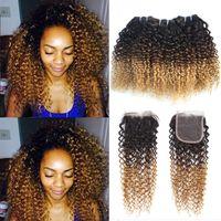 Brésilien Kinky Curly Ombre Cheveux humains 3 Bundles avec 4 * 4 Dentelle Fermeture 3 Ton 1B 4 27 # Blonde ombre bouclée vierge cheveux tisse