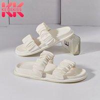 Sandales Kemekiss Femmes Véritable Cuir Summer Chaussures Slip sur le talon plat de fond épais Casual Femme taille 35-42