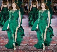 Zuhair Murad 2020 Colección verde oscuro vestidos de noche largo de la manga gasa del cuello de equipo de barrido tren vestido de Prom ocasión formal del partido del acontecimiento 108