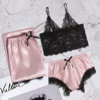 3 PCs Novo Estilo Mulheres Sleep Robe Pestana Rendas Romance Pijamas Set Sexy Sling Noite Calças Lingerie Cueca Tentação # 0807