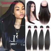 Glamouröse natürliche Farbe Brasilianisches Gerade Haar 360 Spitze Frontal mit Babyhaar Peruanian Malaysian Jungfrau Menschliches Haar 4 Bündel mit Schließung