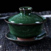 tazón múltiple con hielo agrietado esmalte juegos de té tapa de café de hielo grieta tetera de té chino gaiwan herramienta de Kung Fu cerámica