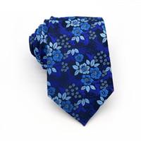 Moda Erkek Kravat 8 CM Mavi Ipek Boyunbağı Çiçek Nokta Jakarlı Dokuma Erkekler Için Klasik Boyun Bağları Resmi Iş Düğün Damat GH78