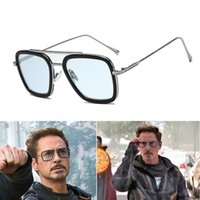 Luxury Fashion Avengers Tony Stark Flight Style Uomo Occhiali da sole Uomo Square Brand Design Occhiali da sole Retro uomo in ferro da uomo