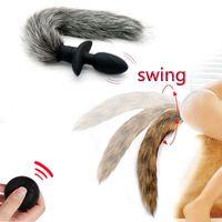 Kablosuz Uzaktan Kumanda Salıncak Fox Tail Anal Plug Butt Plug Vibratör Anal Oyuncak Fetiş Cosplay Yetişkin Oyunları Seks Oyuncakları İçin Kadın Erkek T200318