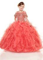 spalla oro ricamo Ruffles Little Girls Pageant abiti di sfera fredda rilievo lungo ragazze di fiore veste il vestito promenade per i bambini