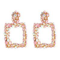 Kadınlar Moda Rhinestone Dikdörtgen Geometrik Bırak Dangle Küpe Bohemian Takı 5 Renk Akrilik Beyanı Küpe Hediye