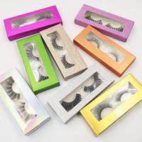 Caja de papel 3D de imitación de visón pestañas con Natural largo y grueso Cruz del latigazo del ojo de la pestaña falsa dramático OEM / custom / Logo privado puede GGA3044-2