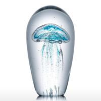 Bleu Méduse en verre Sculpture Artisanat d'art Figurines Tooarts Ornement Artisanat Articles modernes Artisanats Mariages Home Decor cadeaux
