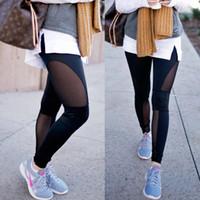 Frauen-beiläufige Hosen mit hoher Taille Fitness Leggings Stretchhose Mode Mesh-feste lange Hose Legging