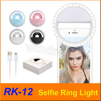 RK12 RK-12 قابلة للشحن العالمي LED Selfie ضوء الدائري ضوء فلاش مصباح الإضاءة Selfie الدائري كاميرا التصوير لجميع الهواتف النقالة