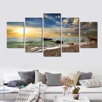 5 Stück Wandkunst Leinwand Sonnenuntergang Meer Wandkunst Bild Leinwand Ölgemälde Wohnkultur Wandbilder für Wohnzimmer Kein Gestaltet