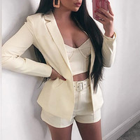 Outfits Pink Blazer Suit Top Shorts 2 Two Pieces Set with Be...