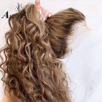 360 кружевной фронтальный парик предварительно сорванный с детским волосом Оммре выделение коричневой перуанской глубокой волны Remy цветные парики с полным кружевом