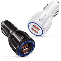 الهاتف الخليوي شاحن سيارة ثنائي USB QC3.0 سريع شاحن محول تهمة الذكية 12V الإضافية 3.1a للحصول على الروبوت سامسونغ الذكية