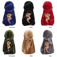 Neue China mode animal Print männer drachen muster samt Durags Bandanas Headwear Männer DuRag Turban Hut Stirnband Haarschmuck Waves Cap