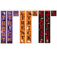 Truque ou tratar o banner do sinal da varanda de Halloween para a porta da frente ou a decoração home interior Sinais de boas-vindas Decorações do Dia das Bruxas JK1909XB