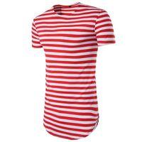 CALOFE Marca Nueva Camiseta A Rayas de Los Hombres de Manga Corta Con Cuello O TopsTees Verano Básico Clásico Camiseta Larga Para Hombre Ropa Streetwear