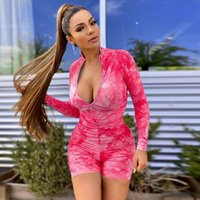 Summer new sky print hip lift body shaping sports jumpsuit w...