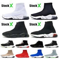 Clearsole Triplo Whtie preto Mulheres Homens Speed ​​Trainer Sock Casual Shoes étoile do vintage Sock Formadores Runners Sports Sapatilhas Botas 36-45