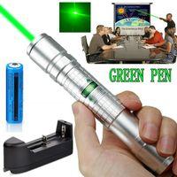 Prata poderosa 10Mile Green Laser Pointer Pen 5mW 532nm Militar Laser Pen Pointer Astronomia Raio de Luz Pet Toy + 18650 Battery Charger +