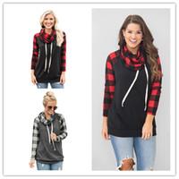25b7e7930f Wholesale ladies denim shirt online - Women Plaid Raglan Pullover Hoodie  Long Sleeve Patchwork Sweatshirts Ladies