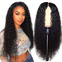 10A Perucas de cabelo humano em linha reta brasileira Kinky Curly 4 * 4 Rendas Front Wig Wig Onda para mulheres negras