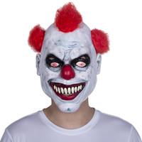 Joker fou effrayant Halloween masque de clown effrayant - sourire sinistre cheveux roux masque de latex livraison gratuite