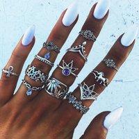 13pcs / набор Vintage Knuckle Кольца для женщин Boho Геометрический цветок Кристалл кольцо Установить Bohemian Midi палец ювелирные изделия