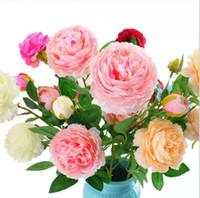 Artificial Rose Flores Falso Folha Silk Wedding Bouquet 3 Chefes Peony Flor Tabela Home Office Decoração DDA123