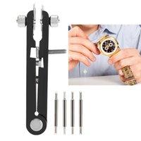 6825 reloj de la aleación removedor de la correa del ajustador de herramientas profesionales en forma de V barra del resorte de los alicates (Negro 6-pin) para la herramienta de reloj relojero
