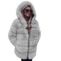Mulheres casaco fashion 2020 Brasão Faux pele morno com capuz Outono Inverno Overcoat Jacket Coats mulheres Brasão