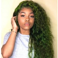Human Hair Lace Wig Favorite Dark Green Brazilian Virgin Dee...
