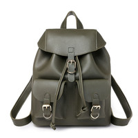 good quality Pu Leather Backpack For Women Solid Color Rucks...