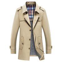Hommes Trench-Coat 2019 Hiver Épaissir Trench Veste Blazer D'affaires Décontracté Coupe-Vent Survêtement Veste Mâle Vêtements 6XL 7XL