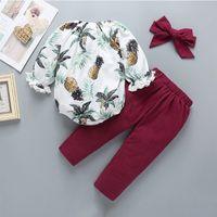 100% coton du nouveau-né ananas Vêtements de bébé Print Romper Outfit Enfants Filles ensemble 3 pièces Romper + pantalon + Bandeau jeux Vêtements bébé