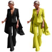 Amarelo Preto Personalidade Moda Fashion Senhora Senhora Ruffles Manga Longa V Neck Ternos Slim e Cintura Alta Corte Pant Mulheres 2Piece Set