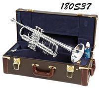 Trompet Bach Gümüş Kaplama LT180S Orjinal Mavi Kılıf Bb Ton Müzik Aletleri ile 37 Trompet Oyma