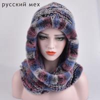 Реальный мех шляпа Beanie Rex Кролик меховые шарфы женский двойного использования зимние шапки Russisn натуральный натуральный мех Шапочка шляпы шарф для женщин