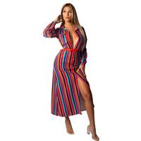 Mode-Frühlings-Herbst Bunte Druck Gestreifte Rüschen Button Up Kragen mit langen Ärmeln Taschen Maxi extralange Freizeithemd Kleider für Frauen