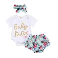 3 UNIDS Infant Baby Girl Summer Little Sister Outfit Romper Bloomers Shorts Ropa Set + Pantalones Shorts + Diadema Outfit Set