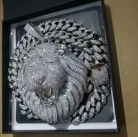 Fuori ghiacciato Pendente Cuban Catena Big Pendenti Mens gioielli Hip Hop dal design di lusso della collana di diamante di Bling Leone Animal Rapper Accessori DJ