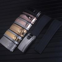 حزام أعلى جودة 20 مم يصلح لإكسسوارات ساعة ROLEX SUB / GMT الجديدة الناعمة المقاومة للماء مع مشبك فولاذي من الذهب الوردي