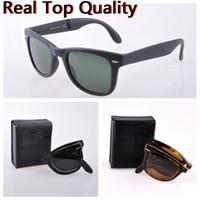 Herren Sonnenbrille Falten Frauen echte UV400 Glaslinsen Sonnenbrille des lunettes de soleil Original Klappledertasche, Zubehör