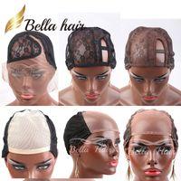 Bella Hair Professional Кружевные парики для изготовления WIG U-часть Кружевые колпачки цветные коричневые / черные C Верхняя крышка с регулируемыми ремнями