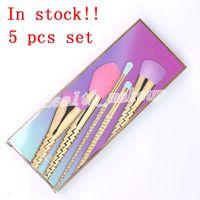 Makeup Pinsel Sets Kosmetikbürste 5 Stück Helle Farben Rose Gold Spirale Shank Make Up Pinsel Werkzeuge Pulver Konturbürsten Kostenloser Versand