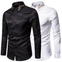 Mens camisas de vestido Moda Casual Slim Fit Sólidos manga comprida camisas Masculino Bordado Negócios Tops formais
