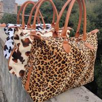 Leopard Kuh Wochenende Handtasche große Kapazitäts-Reise Tragegriff Sport Yoga Totes Speicher für schwangere Frauen Tasche Pelz Wochenende Taschen 17inch RRA3164N